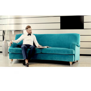 Sofa trzyosobowa turkusowa Don Fox Club Glam Velvet EsteliaStyle